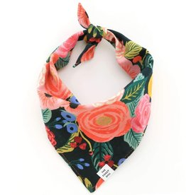Painted Peonies Midnight Dog Bandana - Small