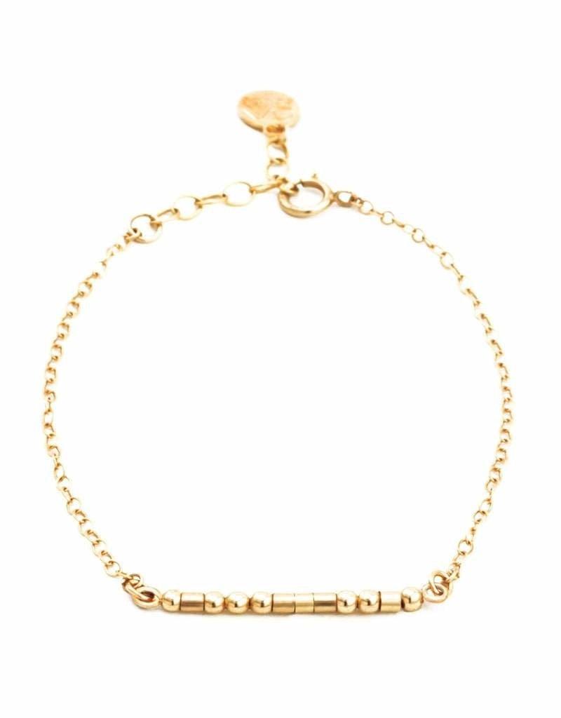 Mother Morse Code Bracelet - Gold Filled