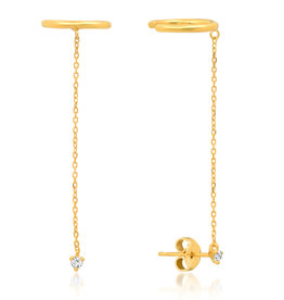 Stud with Chain Ear Cuff - Single Earring