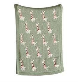 Cotton Knit Blanket - Sage with Giraffes