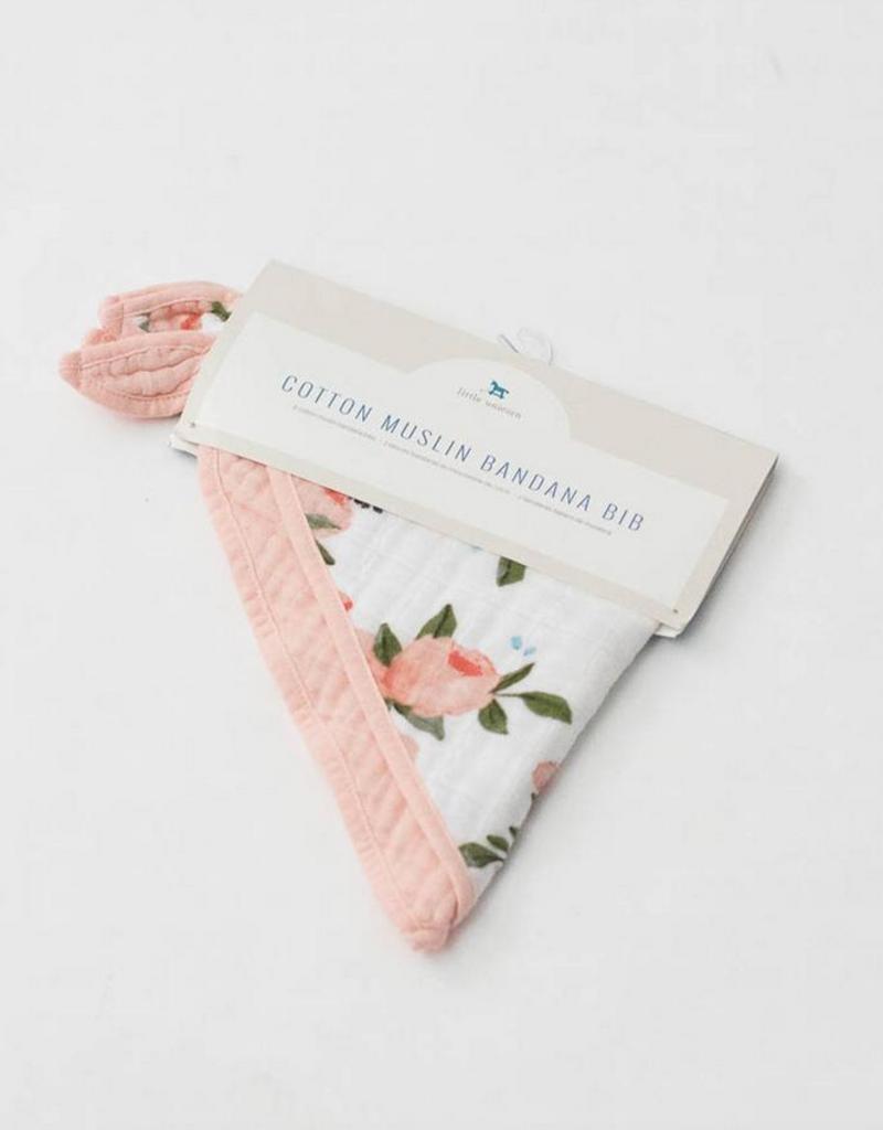 Cotton Muslin Bandana Bib 2 pack - Watercolor Roses