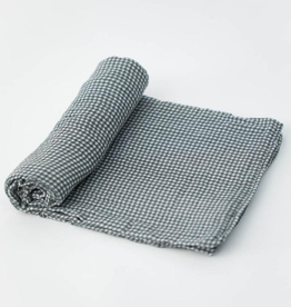 Cotton Muslin Swaddle - Navy Micro Gingham