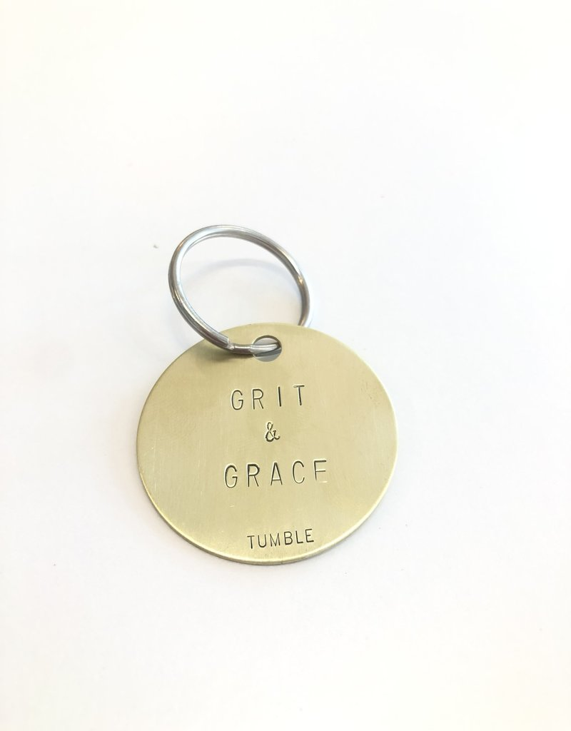 Grit & Grace Round Brass Keyring