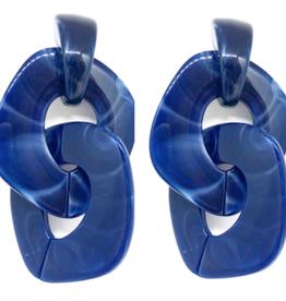 Grande Resin Link Drop Earrings - Navy