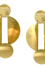 Brass Lunar Drop Earrings