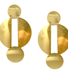 Brass Lunar Drop Earrings