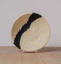 Striped Black + Natural Small Raffia Bowl
