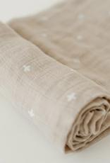 Cotton Muslin Swaddle Single - Taupe Cross