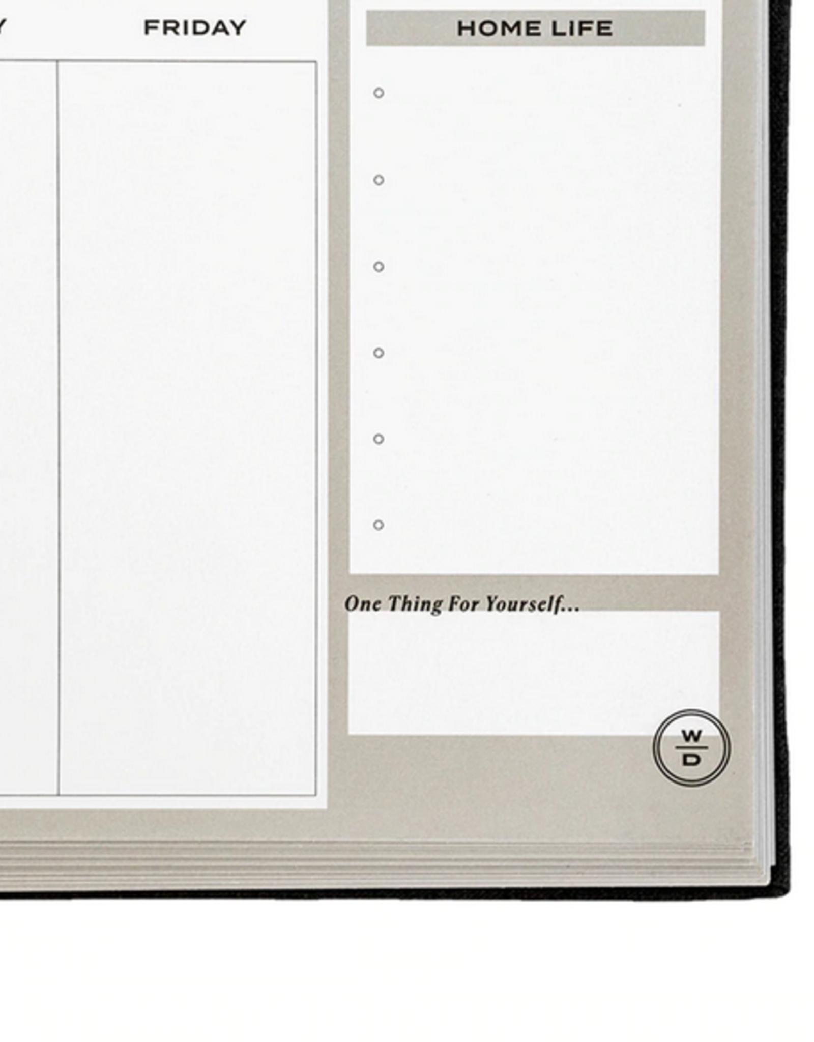 Stay on Track Desktop Notepad - Black Linen