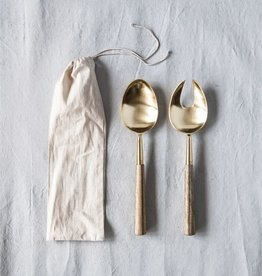 Stainless Steel & Wood Salad Server Set