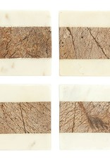 White + Natural Marble Coasters - Set of Four