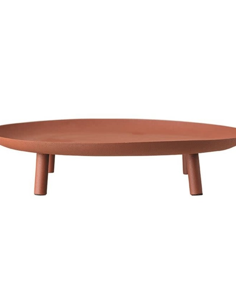 Matte Sienna Metal Footed Tray