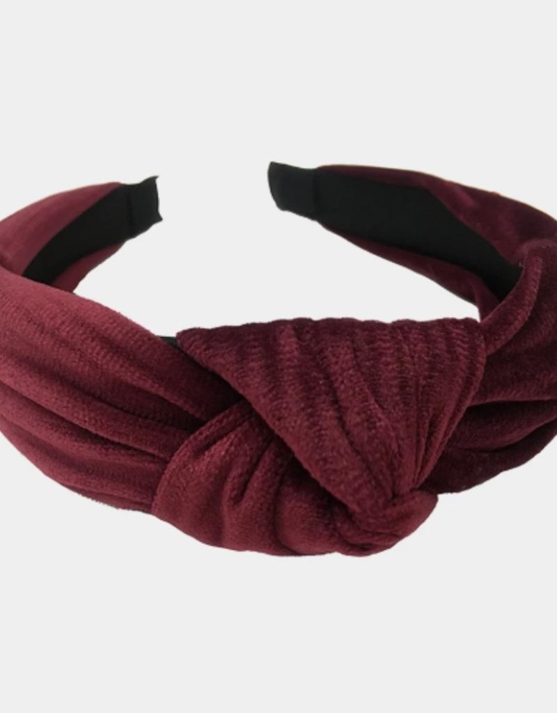 Velvet Knot Headband - Maroon