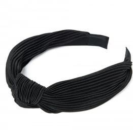 Pleated Black Knot Headband