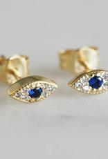 Sapphire Evil Eye Studs