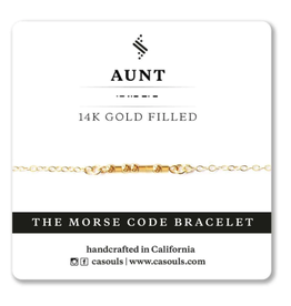 Aunt Morse Code Bracelet - Gold Filled