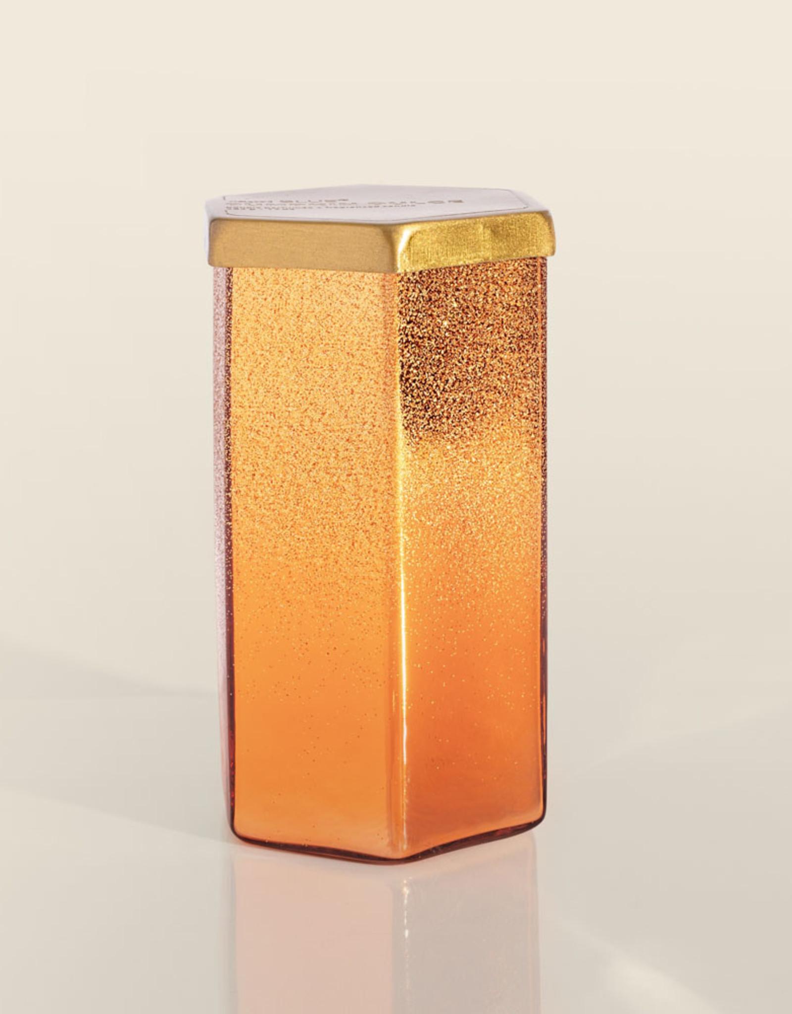 Pumpkin Dulce Copper Glittered Ombre Hexagon Candle