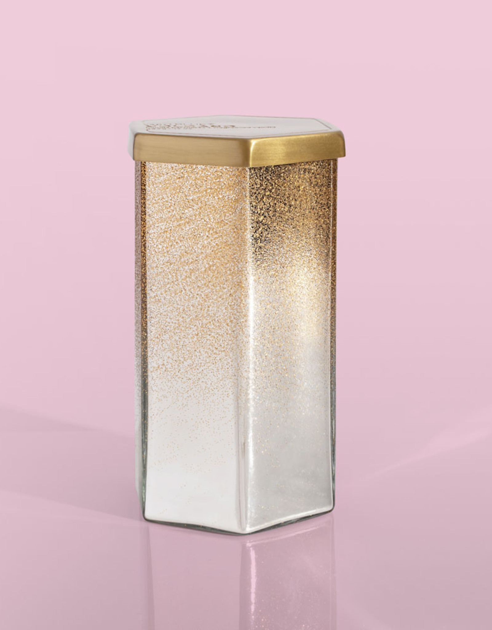 Crystal Pine Silver Glittered Ombre Hexagon Jar