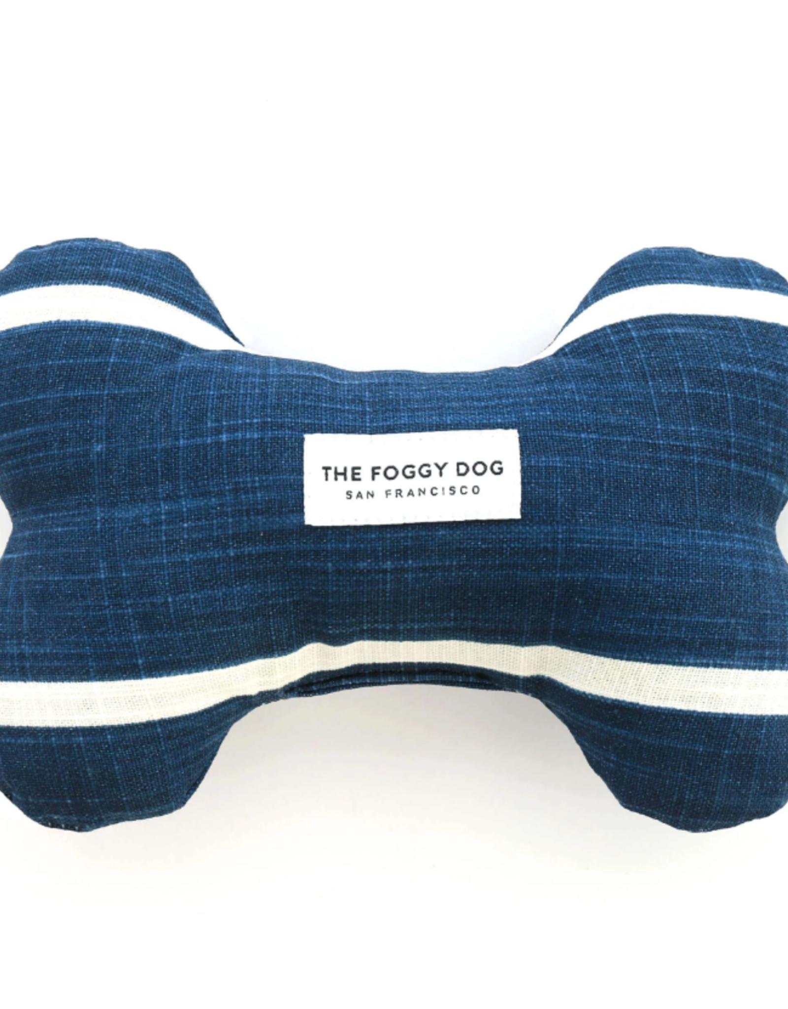 Modern Stripe Navy Dog Bone Squeaky Toy