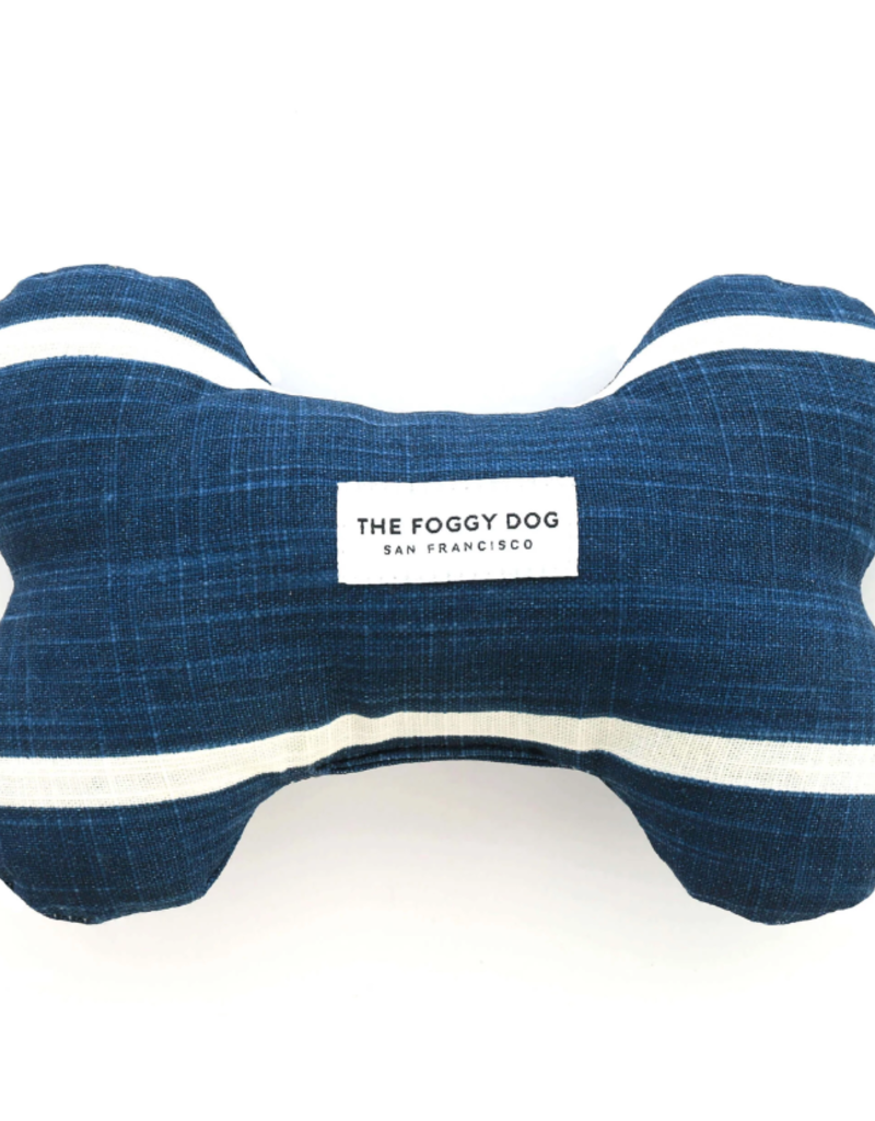 Modern Stripe Navy Dog Bone Squeaky Toy