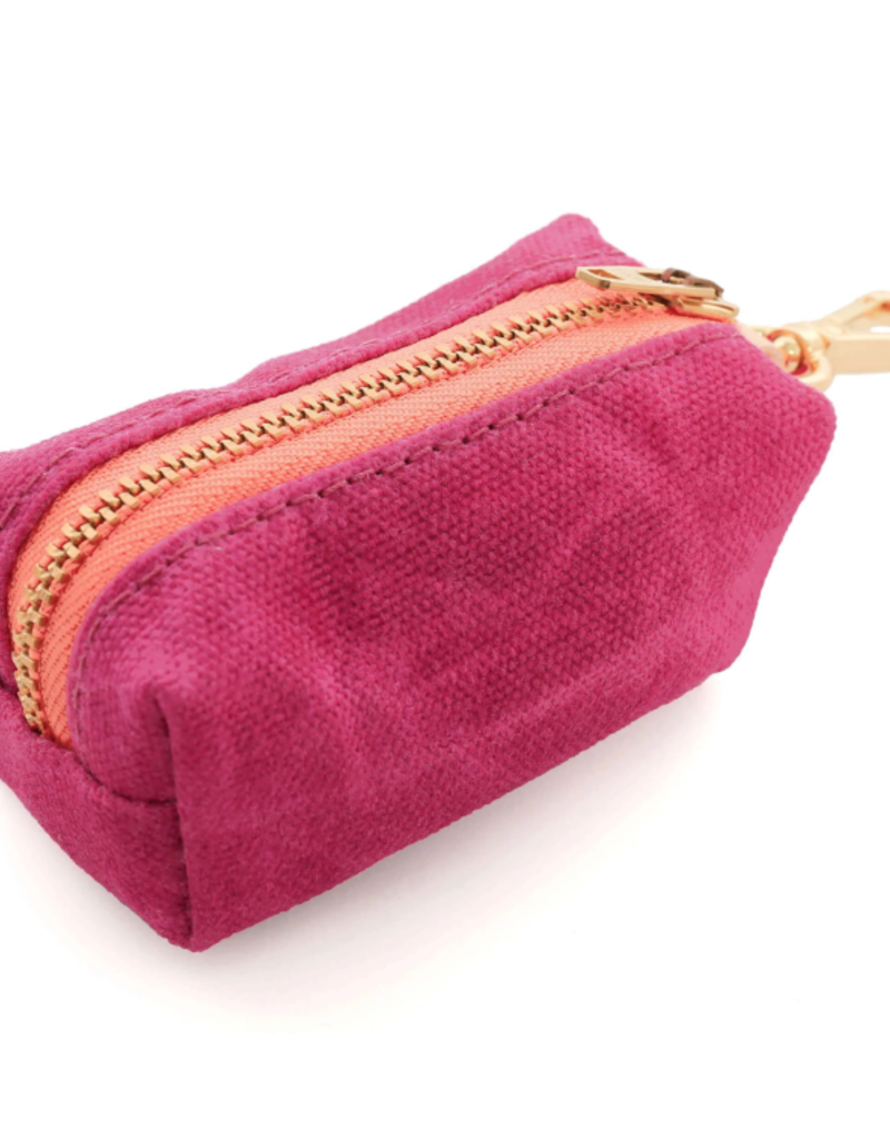 Hot Pink Waxed Canvas Waste Bag Dispenser (choice of zipper color)
