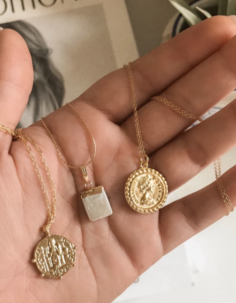 Vintage Saint Coin Necklace - Gold Fill