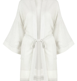 The Gusto Bamboo Robe - Beige Stripe