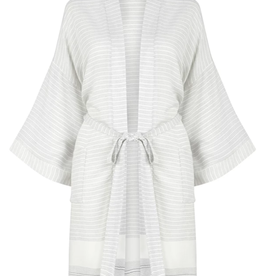 The Gusto Bamboo Robe - Grey Stripe