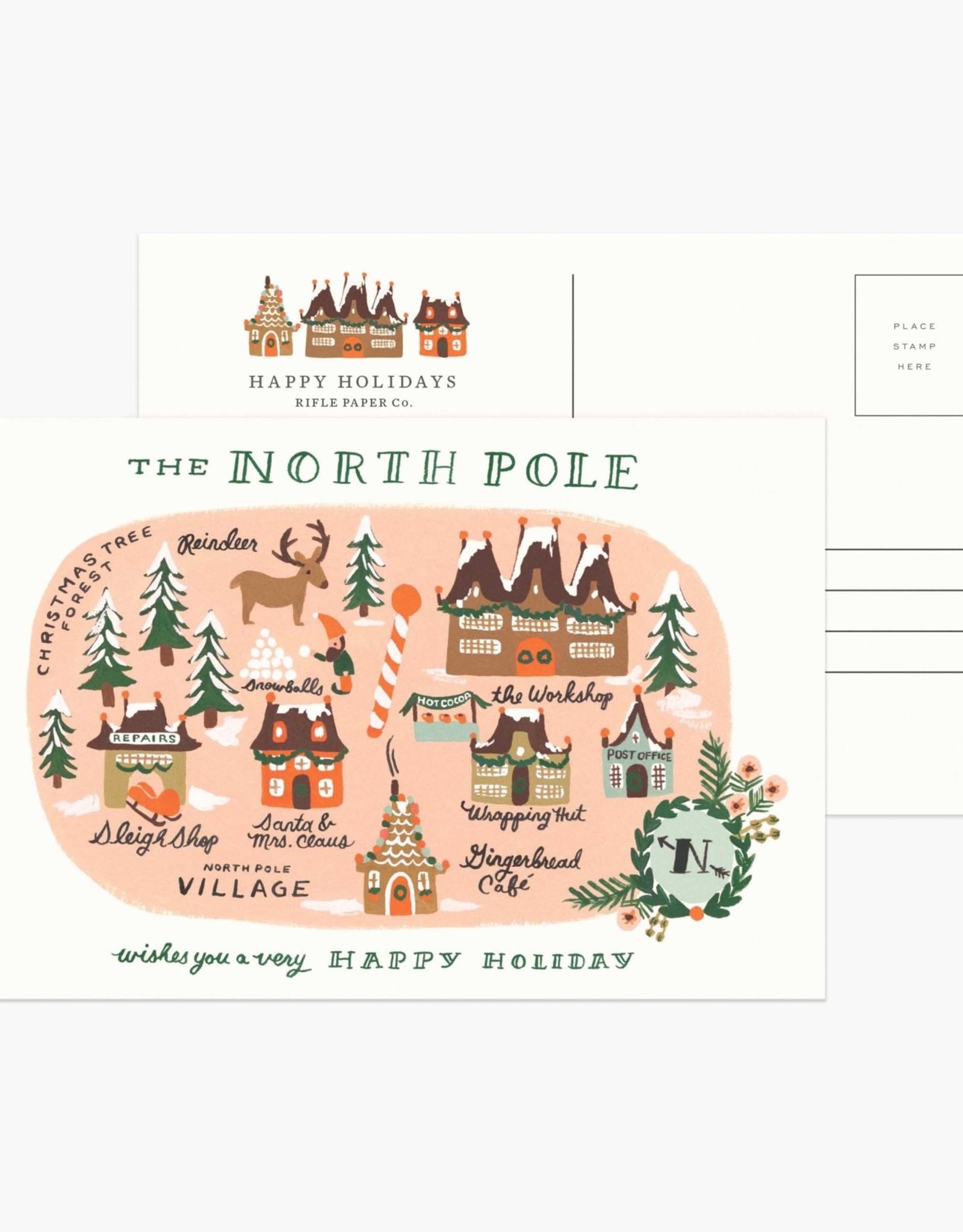North Pole Map Postcard Set