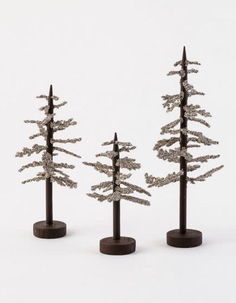 Glass Glitter Trees - Set of Three