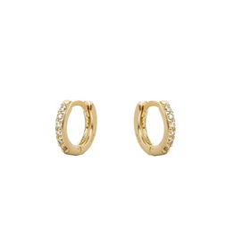 CZ Pave Tiny Huggies Hoops