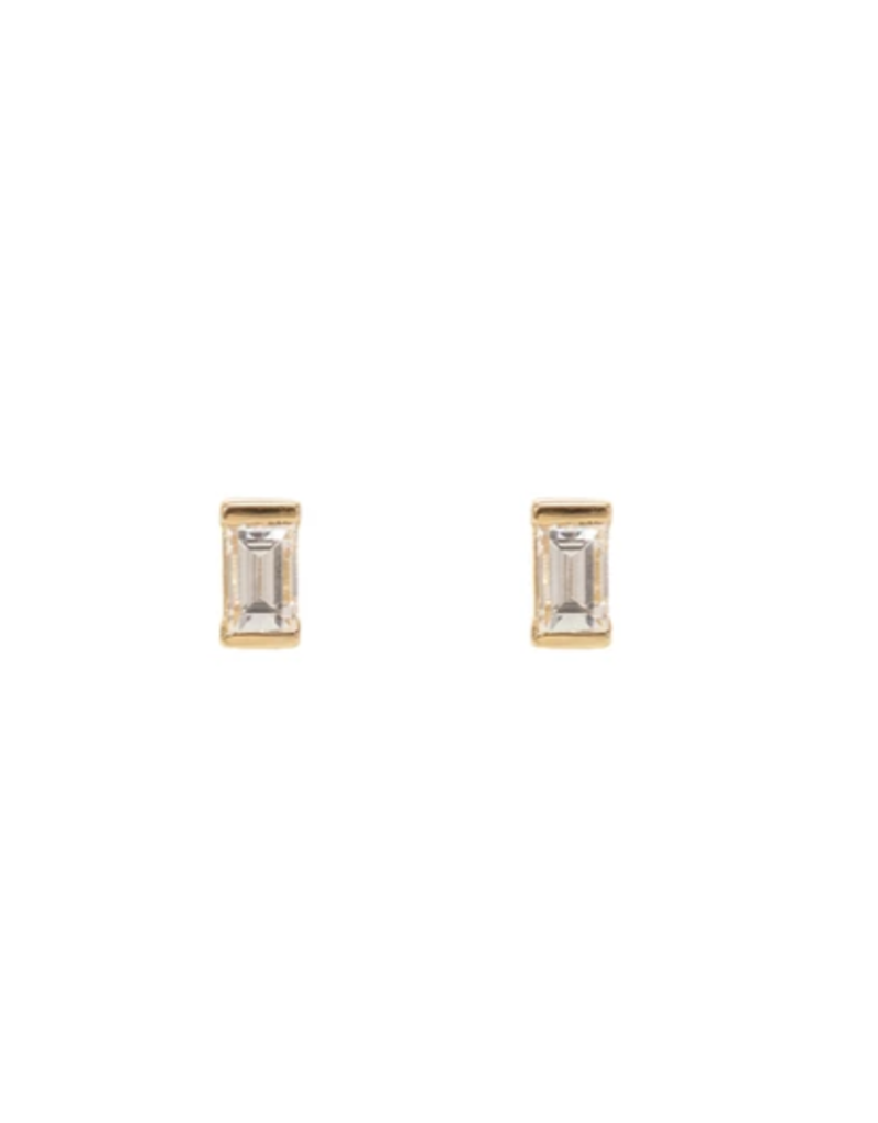 CZ Baguette Diamond Earrings