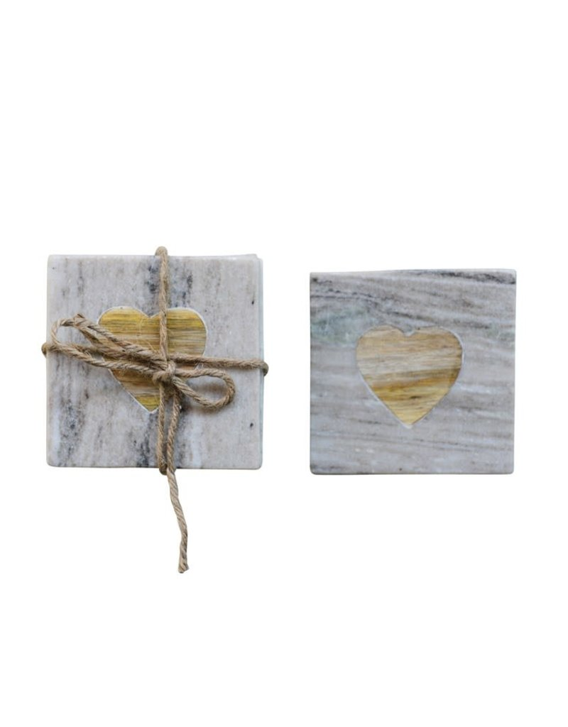 Wood Heart Square Marble Coasters