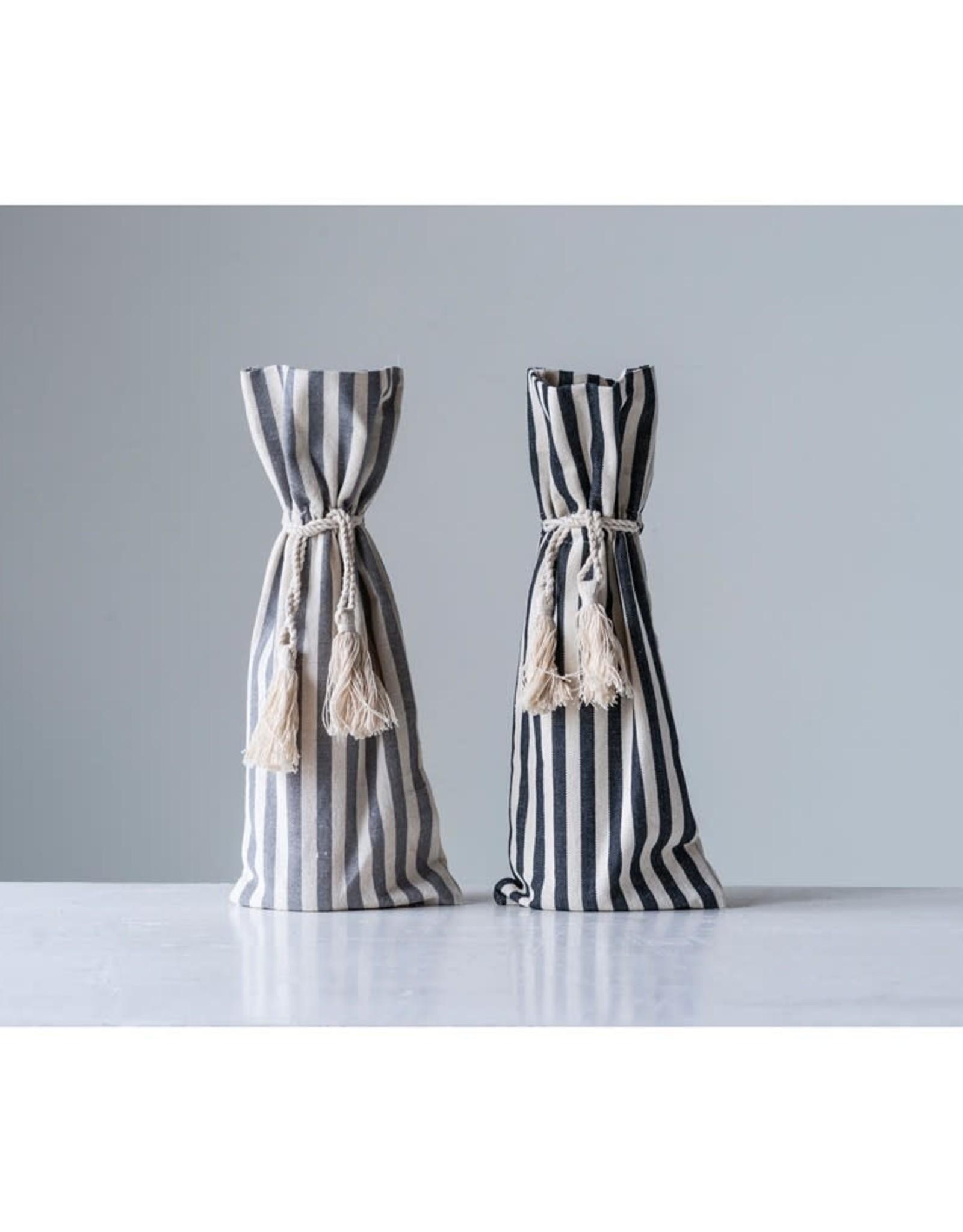 Cotton Striped Wine Bag