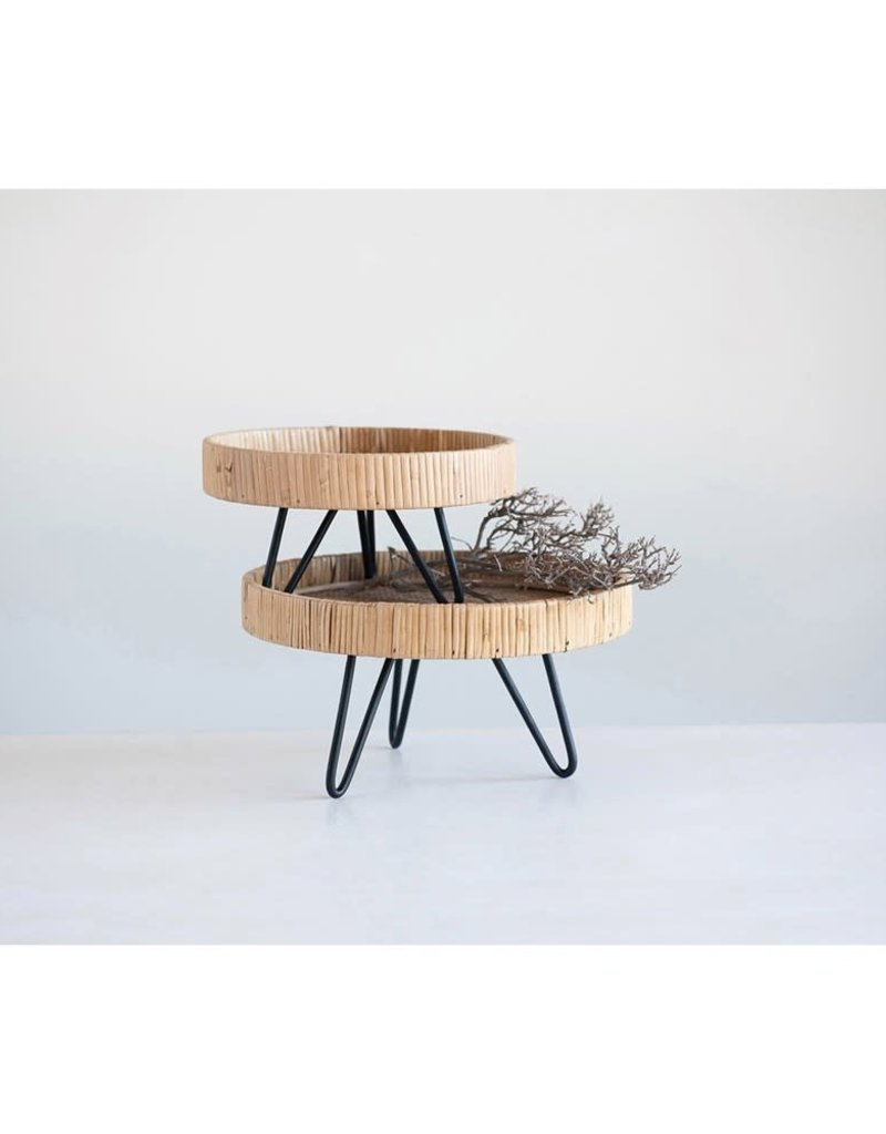 Woven Rattan Footed Pedestal