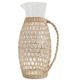 Seagrass Weave Glass Pitcher