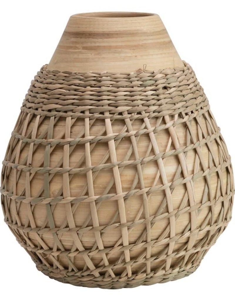 Bamboo Vase with Seagrass Weave