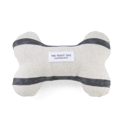 Modern Stripe Charcoal Dog Bone Squeaky Toy