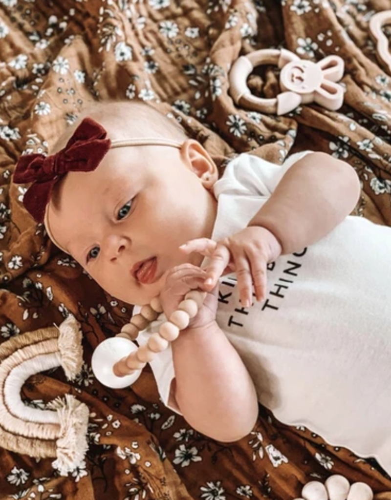Rainbow Macrame Teether - Tan + Blush