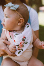 Cotton Muslin Reversible Bandana Bib - Watercolor Roses