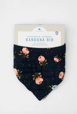 Cotton Muslin Reversible Bandana Bib - Midnight Rose