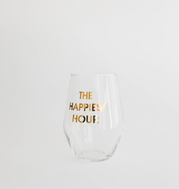 The Happiest Hour Wine Glass