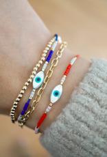 Evil Eye Cord Bracelet - Blue