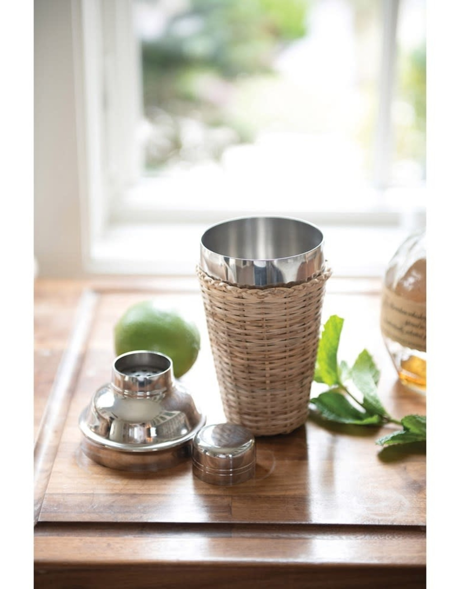 Stainless Steel Cocktail Shaker with Woven Rattan Sleeve