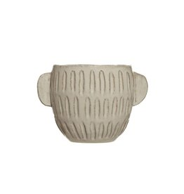 Embossed Stoneware Planter - White