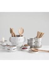 Embossed Stoneware Planter - White