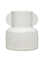 White Stoneware Pleated Vase
