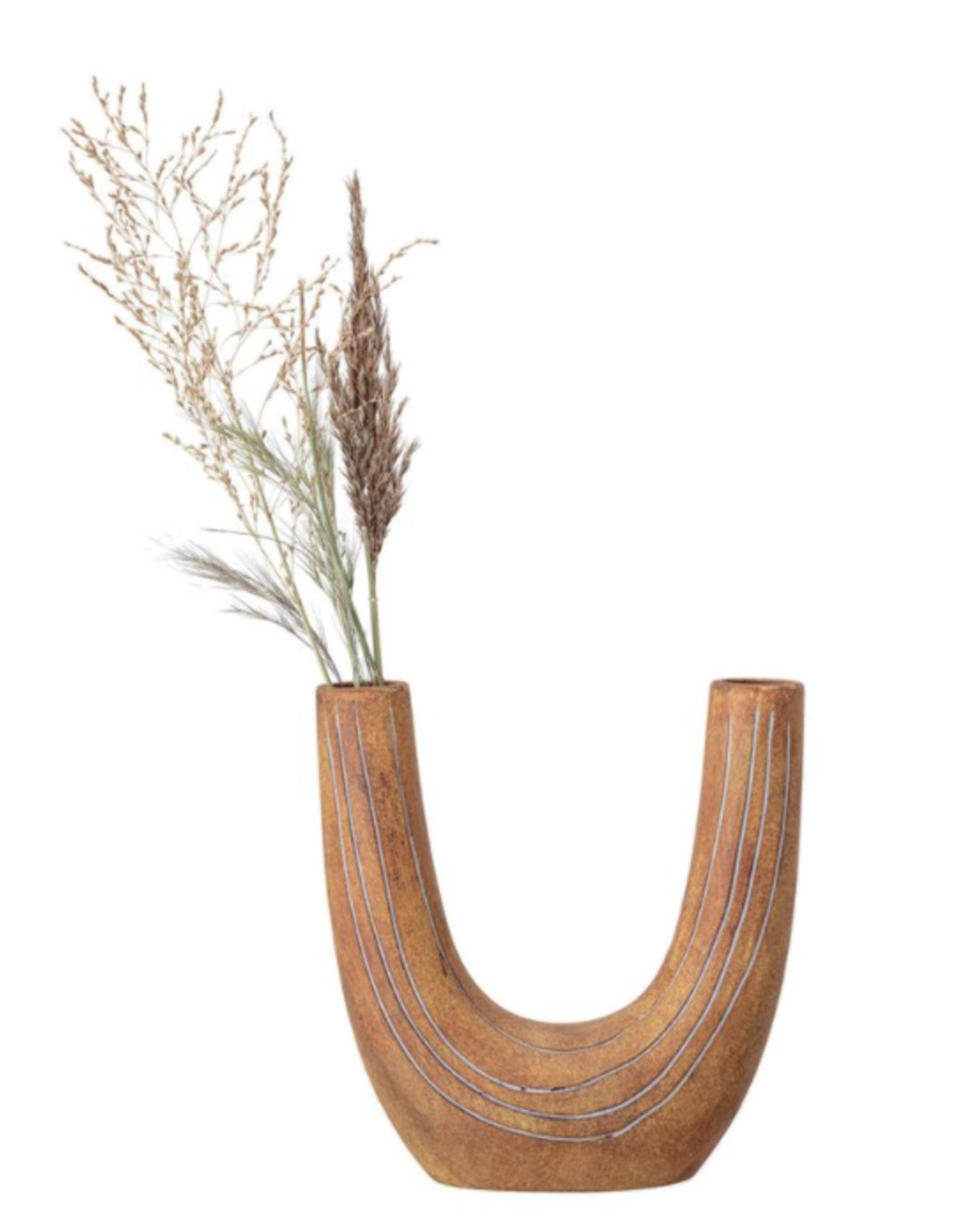 Painted Terra-cotta U-Shaped Vase
