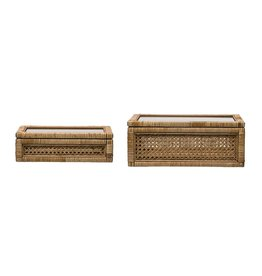 Rattan Box with Glass Lid