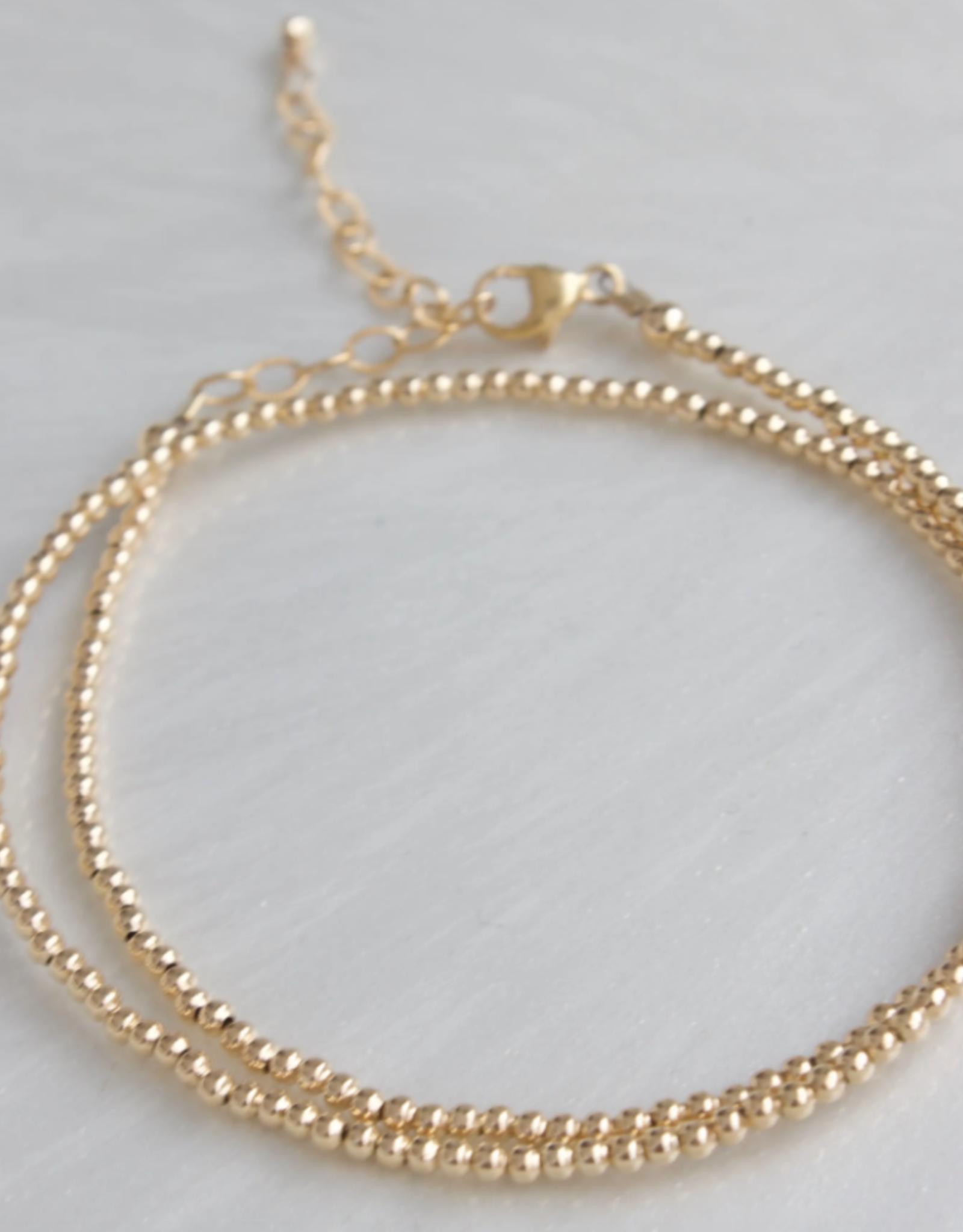 Gold Filled Double Wrap Bead Bracelet 2mm